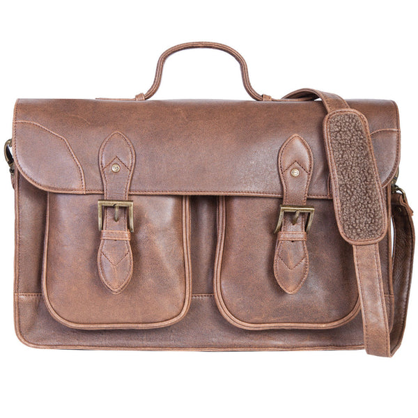 Scully Leather 81st Aero Squadron Collection Walnut Brown Lambskin Air Marshall's Briefing Case
