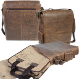 Scully Leather 81st Aero Squadron Collection Walnut Brown Lambskin Flight Captain's Crossbody Laptop Mission Bag