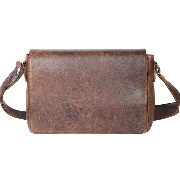 Scully Leather 81st Aero Squadron Collection Walnut Brown Lambskin Air Commander's Crossbody Laptop Mission Bag