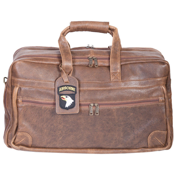Scully Leather 81st Aero Squadron Collection Walnut Brown Lambskin Wingman's Weekender Suitcase