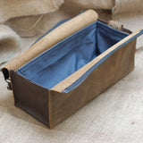 A201203-TB/CB Divina Denuevo Tan Brown Leather Dopp Kit with Removable Waterproof Lining