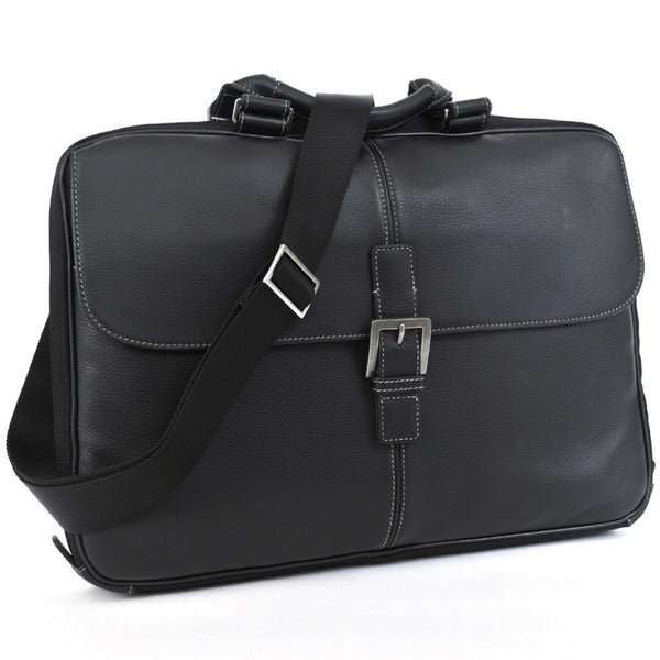 "Boconi 200-1107 Charcoal Black Tyler Tumbled 15"" Laptop Leather Portfolio Brief"