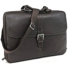 Boconi 200-2207 Coffee Brown Tyler Tumbled Leather Portfolio Brief