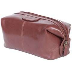 Scully Vegetable-Tanned Brown Calf Leather Dopp Kit