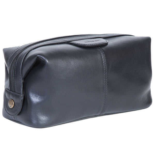 Scully Vegetable-Tanned Black Calf Leather Dopp Kit