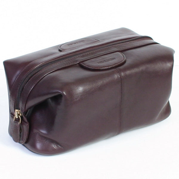 Scully Vegetable-Tanned Chocolate Brown Calf Leather Dopp Kit