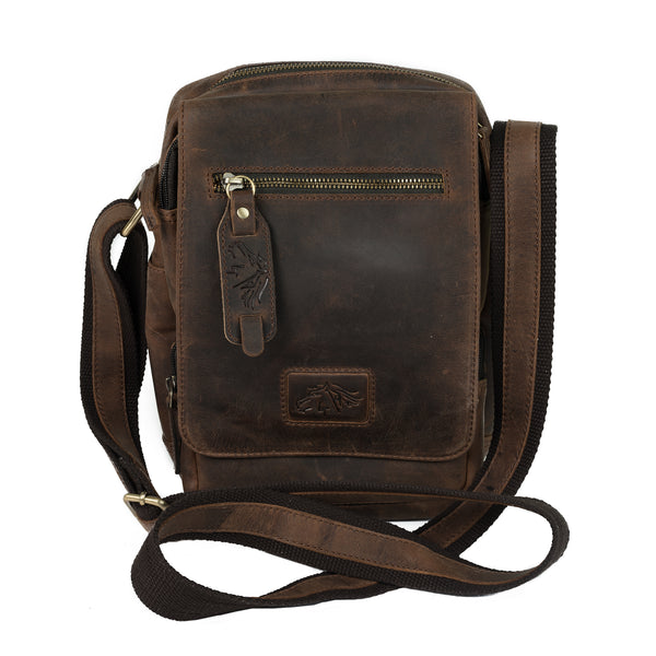 HLG-13041-11-02 Harsha Ranchero Brown Vintage Desperado Leather Heavy Saddle Bag, Front View
