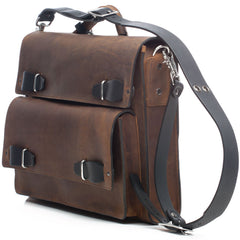 "JMB Bark Brown Oiled Leather Urba Convertible 17"" Laptop Briefcase Messenger and Backpack"