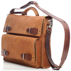 "JMB Light Brown Oiled Leather Urba Convertible 17"" Laptop Briefcase Messenger and Backpack"