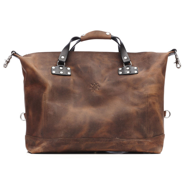 Jmb Vintage Brown Leather Weekender Carry On Duffle Oak