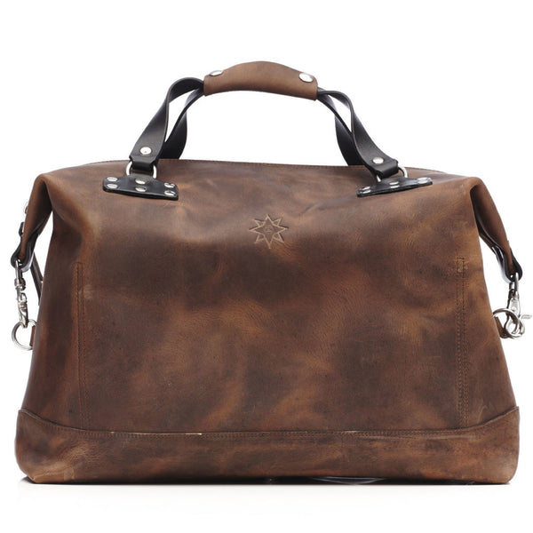 JMB Riveted Brown Crazy Horse Leather Carry-On Weekender Duffle with Black English Bridle Leather Accents