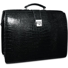 Jack Georges #2505 Classic Black Italian Croco-Leather Clamshell Briefbag