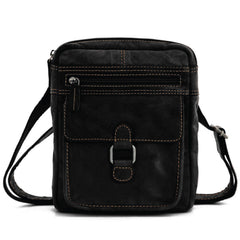 Jack Georges #7204 Voyager Slim Black Leather Crossbody Satchel
