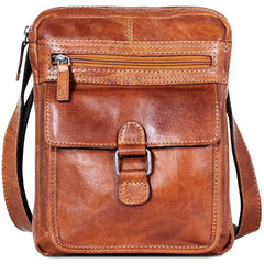 Jack Georges #7204 Voyager Slim Honey Brown Leather Crossbody Satchel