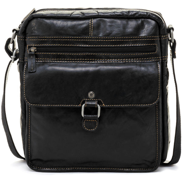 Jack Georges #7025 Voyager Large Black Buffalo Leather Crossbody Satchel