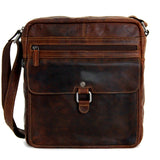 Jack Georges #7205 Voyager Large Brown Buffalo Leather Crossbody Satchel