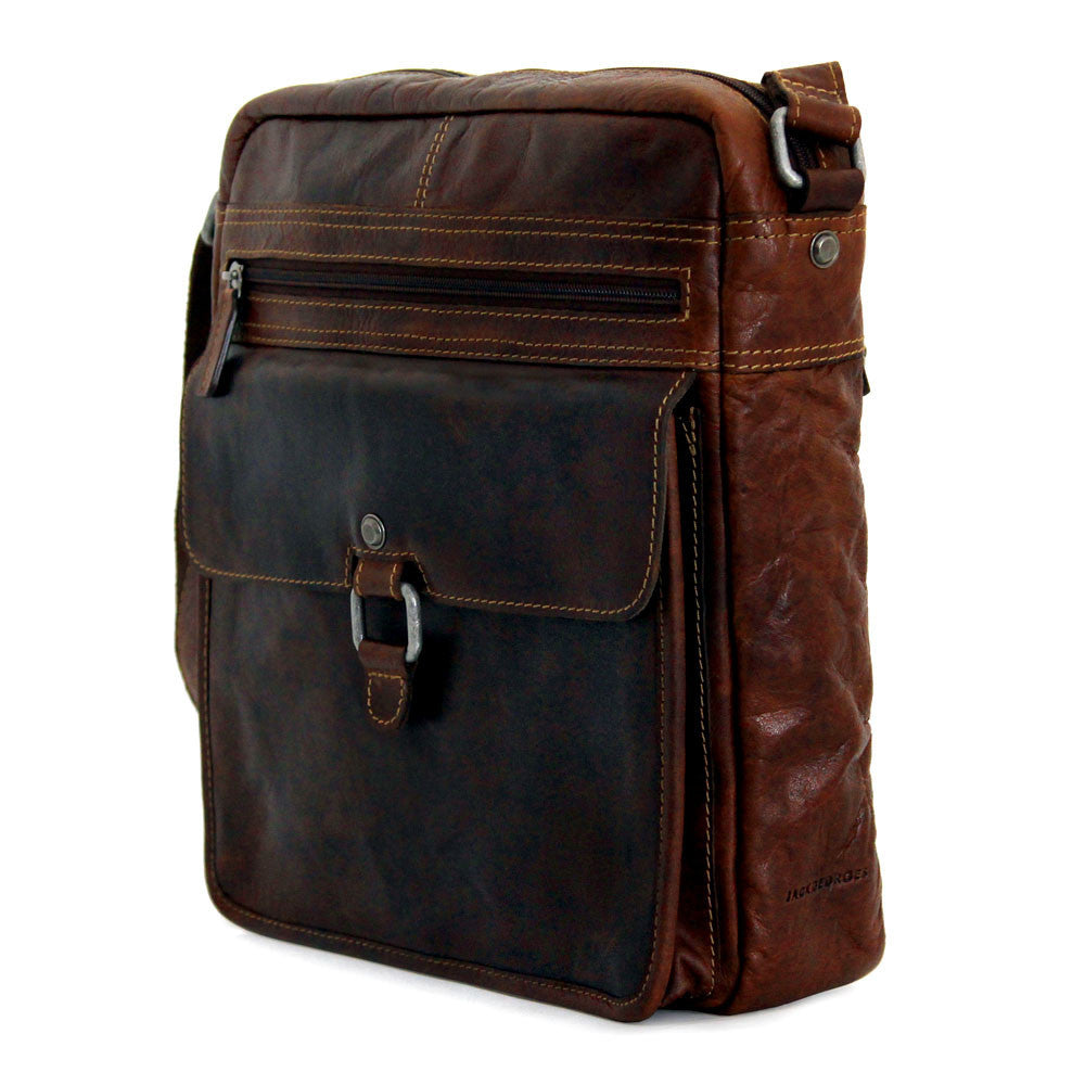 a4c76ece73b ... Jack Georges  7205 Voyager Large Brown Buffalo Leather Crossbody  Satchel ...