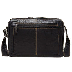 Jack Georges #7313 Voyager Lite Black Buffalo Leather Messenger Bag