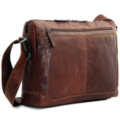 Jack Georges #7313 Voyager Lite Brown Buffalo Leather Messenger Bag