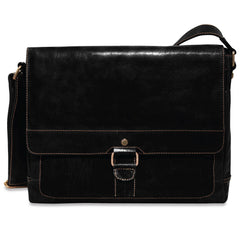 Jack Georges #7314 Voyager Slim Black Buffalo Leather Messenger Bag