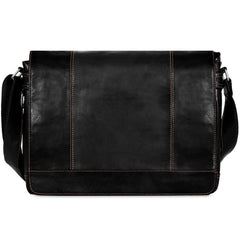 Jack Georges #7315 Voyager Large Black Buffalo Leather Flapover Messenger Bag