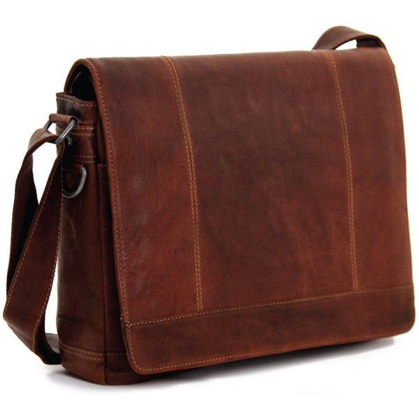 Jack Georges #7315 Voyager Large Brown Buffalo Leather Flapover Messenger Bag
