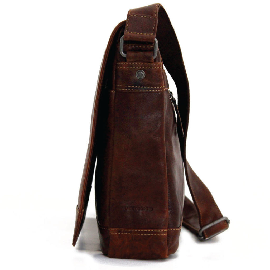 227306876f ... Jack Georges  7315 Voyager Large Brown Buffalo Leather Flapover Messenger  Bag ...