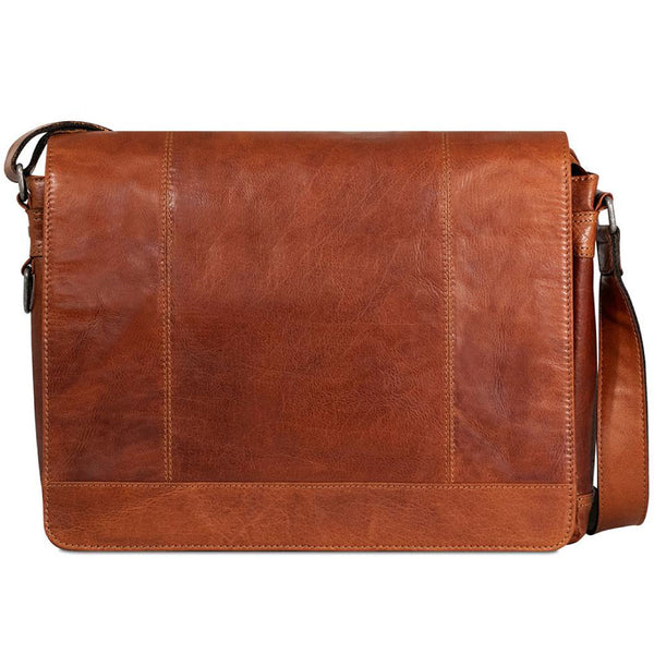 Jack Georges #7315 Voyager Large Honey Brown Buffalo Leather Flapover Messenger Bag