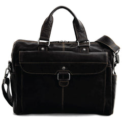 Jack Georges #7316 Voyager Black Buffalo Leather Business Travel Bag