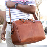 Jack Georges #7318 Voyager Brown Buffalo Leather Mini Weekender Duffle Bag