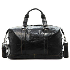 Jack Georges #7319 Voyager Black Buffalo Leather Boxcar Travel Duffle Bag