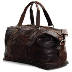 Jack Georges #7319 Voyager Brown Buffalo Leather Boxcar Travel Duffle Bag