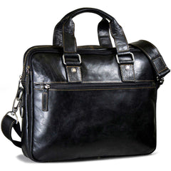 Jack Georges #7321 Voyager Black Buffalo Leather Slim Duo Business Bag