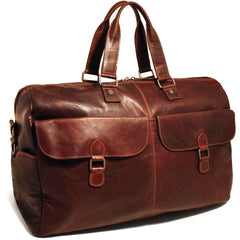 Jack Georges #7322 Voyager Brown Buffalo Leather Large Travel Carry On Duffle