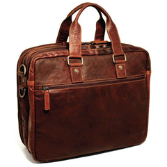 Jack Georges #7328 Voyager XL Brown Buffalo Leather Triple Gusset Business Travel Bag