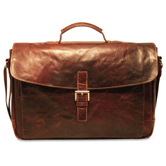 Jack Georges #7501 Voyager Brown Buffalo Leather Slim Flapover Briefcase