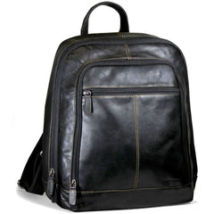 "Jack Georges #7516 Voyager Black Buffalo Leather 15"" Laptop Backpack"