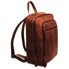 "Jack Georges #7516 Voyager Brown Buffalo Leather 15"" Laptop Backpack"