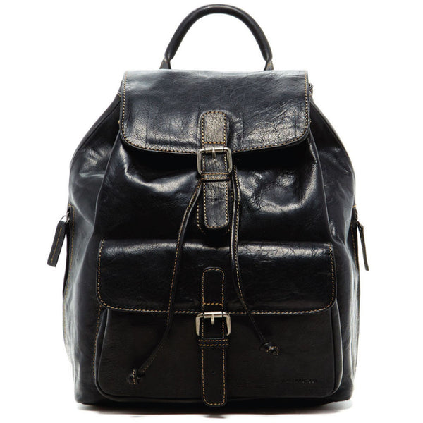 Jack Georges #7517 Voyager Black Buffalo Leather Drawstring Backpack
