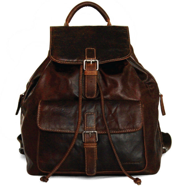 Jack Georges #7517 Voyager Brown Buffalo Leather Drawstring Backpack