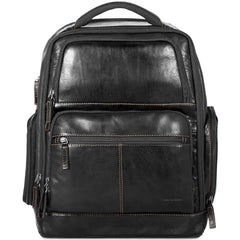 "Jack Georges #7527 Voyager Black Buffalo Leather Deluxe 17"" Laptop Backpack"