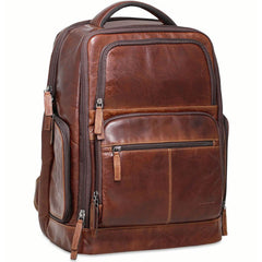 "Jack Georges #7527 Voyager Rich Brown Buffalo Leather Deluxe 17"" Laptop Backpack"
