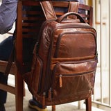 "Voyager Brown Buffalo Leather Deluxe 17"" Laptop Backpack"