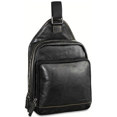 Jack Georges #7582 Voyager Black Buffalo Leather Sling Bag