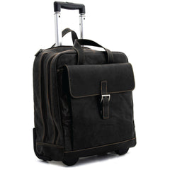 Jack Georges #7844 Voyager Black Buffalo Leather Vertical Laptop Wheeler