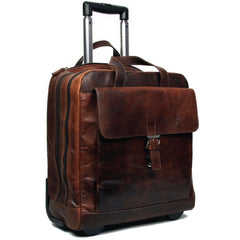 Jack Georges #7844 Voyager Brown Buffalo Leather Vertical Laptop Wheeler