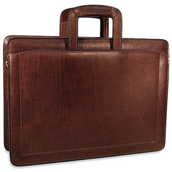 Jack Georges #9001 Saddle Brown Belting Leather Slim Briefcase