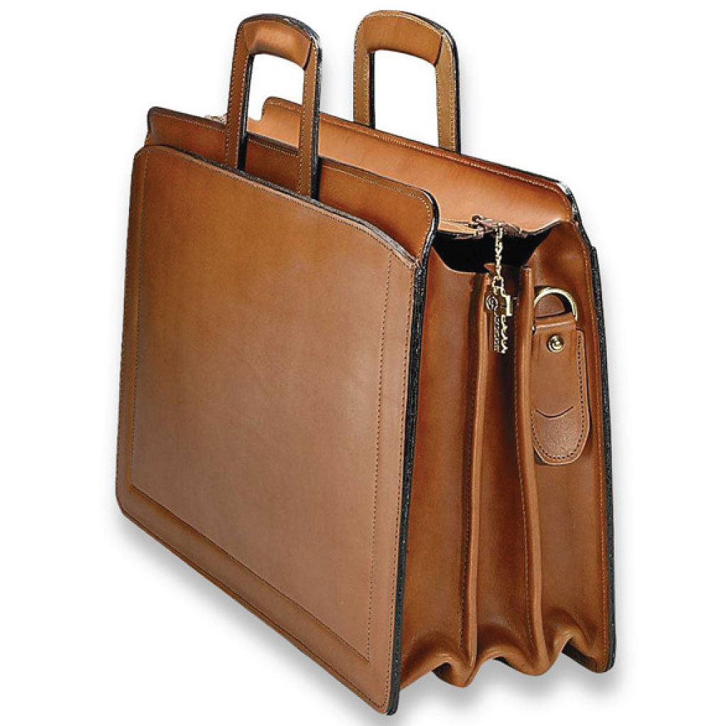 8c7fb90fff4a Natural Tan Belting Leather Triple Gusset Briefcase