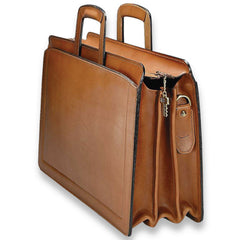 Jack Georges 9002-TAN Natural Tan Belting Leather Triple Gusset Briefcase
