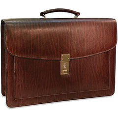 Jack Georges #9003 Saddle Brown Belting Leather Double Gusset Locking Flapover Briefcase